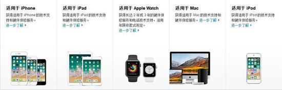 苹果全套设备均有AppleCare服务