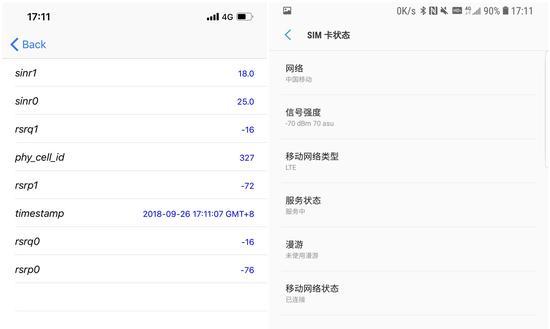▲左:iPhone XS Max(RSRP),右:Galaxy Note9(信号强度)