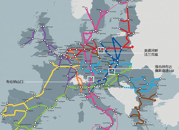 目前三个拥堵状况最为严重的路段分别是德波边境的法兰克福、奥地利匈牙利边境以及布伦纳山口。三处路段分别是德法两大欧盟核心区域通往波罗的海三国、巴尔干半岛和亚平宁半岛的主要陆路枢纽。图源:EU