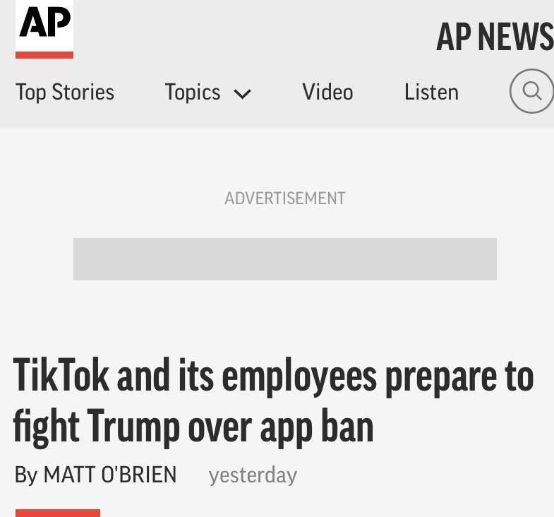 美媒:TikTok美国员工正计划起诉特朗普政府