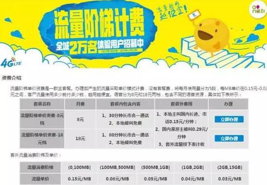 中国移动在2015年试点推出的阶梯定价资费页面