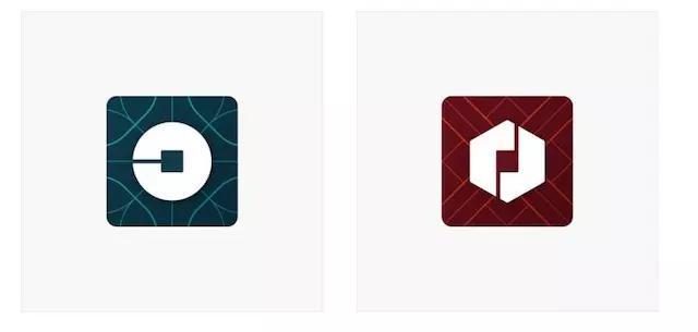 Uber 2016年更新logo,乘客端(左)、司机端(右)都使用钱币造型