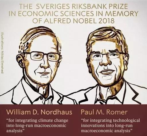 2018年诺贝尔经济学奖获得者保罗・罗默和威廉・诺德豪斯