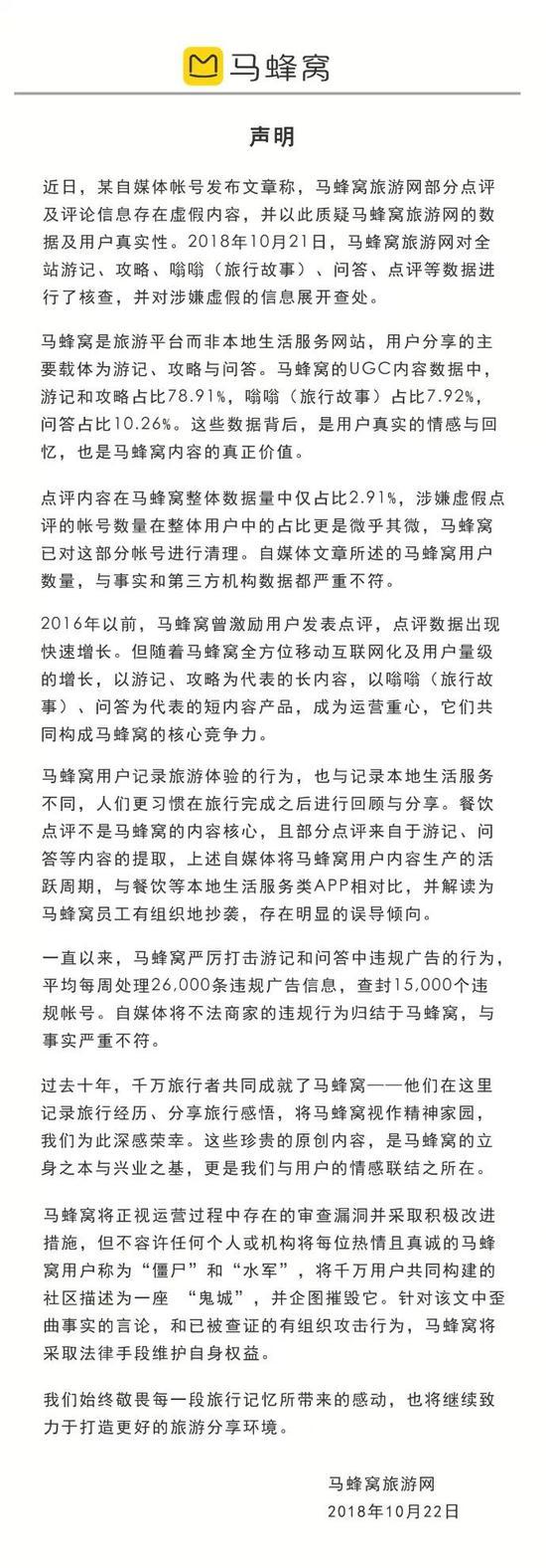 媒体:马蜂窝承认部分造假 估值或将暴跌 证券配资