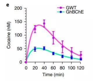 ▲移植了皮肤后,小鼠体内的可卡因水平明显下降(蓝绿色)(图片来源:参考资料[1])