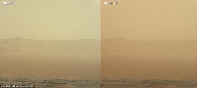 火星尘暴的第一次迹象出现在5月30日,研究小组获得通知,并制定了一个为期3天的计划,让火星车周末穿过尘暴。但是周末之后尘暴继续存在,火星大气变得更加不透明,或者说火星大气中的灰尘量很大,每天都在急剧上升。截至到6月20日,火星尘暴仍继续运行。