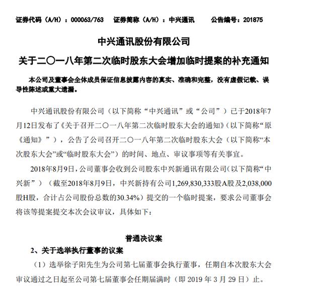 中兴:临时股东大会增加审议选举